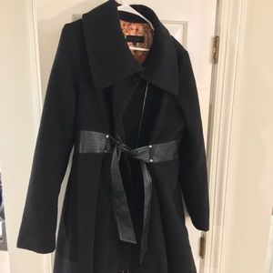 Black Steve Madden Coat with Waistband - Size XL